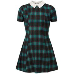 Cameo Rose Blue Check Collared Skater Dress (170.890 IDR) ❤ liked on Polyvore featuring dresses, vestidos, fit and flare skater dress, collared dresses, checkered dress, rose print dress and collar skater dress