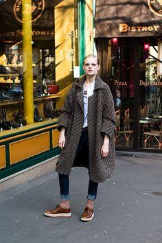 i want those prada creepers.  see more hanne gabe here #http://vanessajackman.blogspot.com/2011/06/paris-fashion-week-aw-2011hanne-gaby.html