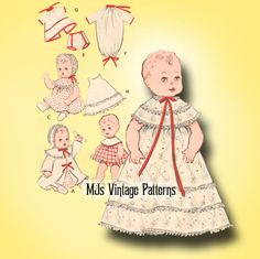 """Vtg 8"""" 9"""" Baby Doll Dress Clothes Pattern ~ Ginette, Ginny, Dy Dee Baby, Wendy"""