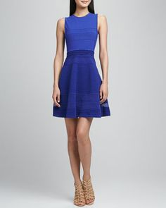 Add a little color to your closet and highlight your waist in a bold blue, fit & flare dress.