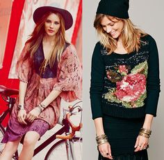 (5a) Lovely Lady Patterned Dip-Dye Kaftan Plunging Lace V-Neck - (5b) Magic Rose Pullover Sweater Jumper - Free People 2013 September Womens Catalog Sneak Peek - Pre Fall Autumn Collection: Designer Denim Jeans Fashion: Season Collections, Runways, Lookbooks, Linesheets & Ad Campaigns