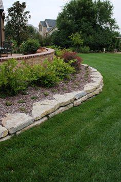 "6"" limestone retaining wall #TopekaLandscape"