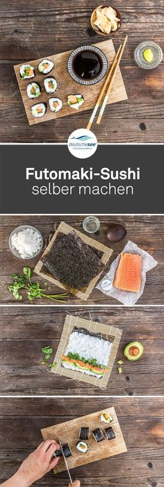 """Futomaki-Sushi selber machen: Futomaki heißt so viel wie """"dicke Rolle"""". Mit… Making Futomaki Sushi itself: Futomaki means something like """"thick roll"""". Filled with salmon, avocado and cilantro, the sushi roll in the Noriblatt lives up to its name. Sushi Recipes, Asian Recipes, Cooking Recipes, Healthy Recipes, Salmon Avocado, Salmon Sushi, Quick Kimchi, Sushi Co"""