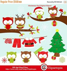 50% OFF SALE Christmas owls digital clipart / Cute by ClipArtopia