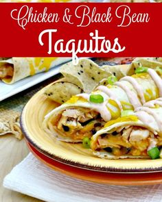 Freezer Recipes - Make dinner easy tonight with this delicious Chicken & Black Bean Taquitos recipe! Served with a side of homemade sour cream sauce they're perfect for freezer cooking or just dinner tonight!