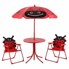 Kids Patio Folding Table and Chairs Set Beetle with Umbrella Kids Patio Set Table And 2 Folding Chairs w/ Umbrella Beetle Outdoor Garden Yard Outdoor Folding Table, Metal Folding Chairs, Outdoor Tables And Chairs, Table And Chair Sets, Outdoor Dining, Indoor Outdoor, Outdoor Toys, Kids Picnic Table, Picnic Set