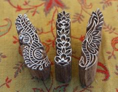 Set of three Wood Block Printing Stamps Henna designs Lady FIngers