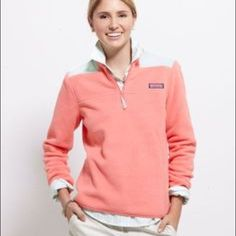 Vineyard Vines coral colored fleece shep shirt Practically brand new, worn once or twice. Kept in perfect condition. Very warm and good for layering. Sky blue colored shoulders as shown in first picture. My picture looks pink but the exact color is shown on the model Vineyard Vines Jackets & Coats