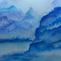 "Japanese Blue by Leona Dadian Akers | $100 | 9""w 5""h | Original Art | http://www.arttwo50.com/buy/art/japanese-blue"