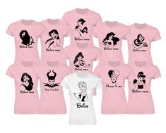 Customized Hen party Disney princesses inspired t-shirts. Princesses and text will be made from black glitter. by iganiDesign on Etsy
