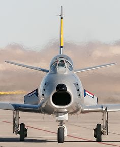 F 86 Sabre --- MiG killer in Korea, unafraid of Soviet or Chinese pilots, and certainly not afraid of North Korean pilots. Easy prey for our USAF. Airplane Fighter, Fighter Aircraft, Fighter Jets, Military Jets, Military Aircraft, Sabre Jet, Photo Avion, American, Korean War