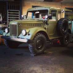 My GAZ69 (ГАЗ69) 1962 or known as GAZ carrier in Indonesia. Russian (Soviet Union) military light truck. It still in restoration progress. Combining custom and original style. The picture taken after the paint job & after changed all new tire with extra grip 7.50 x 16. Location of auto workshop in Jakarta-Indonesia. Some new old stocks spare parts & accessoires imported from Russia, Rumania, Bulgaria & Germany.