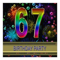 67th Birthday party Invitation with bubbles