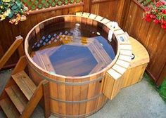 Image result for covered swimming pool wooden hot tub design