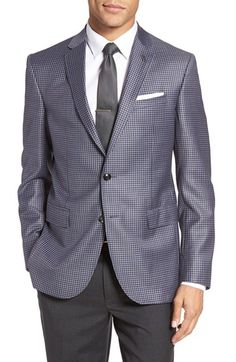 69b3e22bec0871 Free shipping and returns on Ted Baker London Jay Trim Fit Check Wool Sport  Coat at