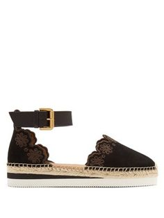 6faa84546 Flower laser-cut suede flat espadrilles | See By Chloé | MATCHESFASHION.COM  US