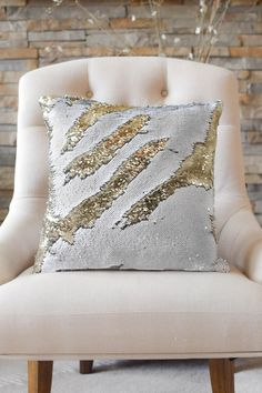 The possibilities are endless for this pillow! Create elegant designs, monograms and pictures on the surface of this Silver and Dark Gold pillow! These cute two-toned pillows go great in any room! - S
