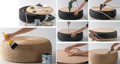 How to make stool with used automobile tires step by step DIY tutorial instructions / How To Instructions on imgfave Tire Table, Tire Ottoman, Ottoman Table, Tire Seats, Diy Stool, Diy Chair, Tyres Recycle, Recycled Tires, Recycled Art