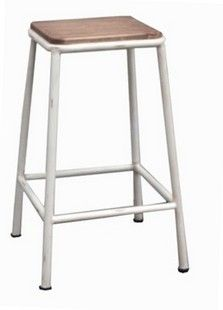 Industrial Stool White - for outside breakfast bar - NEST Emporium! Industrial Stool, Industrial Furniture, Cider House Rules, Breakfast Bar Stools, Banquette Seating, Wood Steel, Tv Cabinets, Coastal Homes, Ottoman