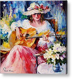 Acoustic Music - Palette Knife Oil Painting On Canvas By Leonid Afremov Acrylic Print by Leonid Afremov