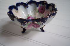 Image detail for -Cobalt blue footed bowl with scalloped edges, hand painted roses and ...