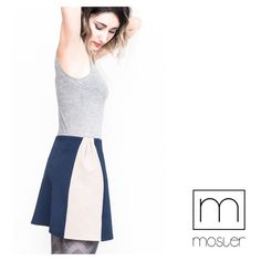 Minimalist navy and beige mini skirt by Mosler