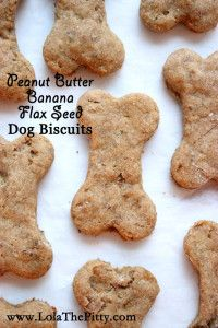 Peanut Butter Banana + Flax Seed Dog Biscuits - @lolathepitty