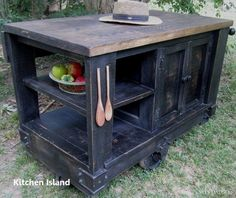 Kitchen Cart - Wes Dalgo Distressed Black Modern Rustic Kitchen Island Cart w/Walnut Stained Top - Rustic Edge - 1 Homemade Kitchen Island, Kitchen Island Cart, Rustic Kitchen Island, Kitchen Islands, Island Bar, Kitchen Cabinets, Mobile Kitchen Island, Wooden Island, Pine Cabinets