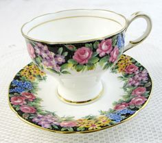 Paragon Tea Cup and Saucer Old English Garden, Antique Tea Cup and Saucer, Bone China
