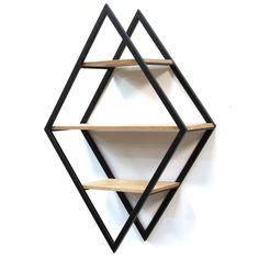 Diamond Wood and Metal Shelf Wall Decor