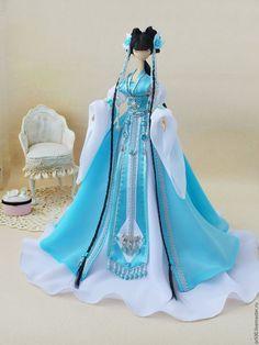 muñecas de colección hechos a mano.  Masters Fair - hecho a mano.  Comprar princesa japonesa.  Hecho a mano.  Turquesa, muñeca textil velo