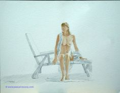 CHAIR ET OMBRES #67 VERITAS etude crinio de lindos - Flesh and shadows #67 the Truth - watercolors and pencil on paper by Pascal Lecocq The Painter of Blue  31 x 41cm 12 1/4x161/8  Lec379b 1994 available. Pascal Lecocq#art #blue #painterofblue #painting #painter #artist #contemporaryartcurator #artstack #artisticallysocial #artcartridge #artcollectae #glarify #in #pint.