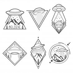Set of six UFO vector emblems, labels, badges or logos. Mystical symbol paranormal phenomena, first contact, invasion of Space Drawings, Pencil Art Drawings, Art Drawings Sketches, Easy Drawings, Tattoo Drawings, Alien Tattoo, Tatuagem Diy, Tattoo Motive, Flash Art
