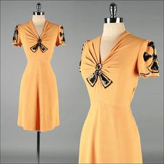 Vintage 1940s Dress  Pumpkin Crepe  Black by millstreetvintage, $115.00