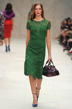 initial reaction: looks like she is wrapped in moss (in a good way)     Burberry Prorsum Spring Summer 2013