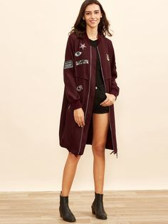 Bomber coat zipper with embroidery - burgundy red - Wedding Bouquets Green Fur, Bomber Coat, Mantel, Adidas Jacket, Zip Ups, Embroidered Patch, Burgundy, My Style, Long Sleeve