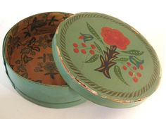 Antique Tole Painted Wooden Cheese Box Round Toleware Wallpaper Primitive Folk Art on Etsy, $149.99