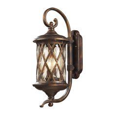 Barrington Gate 2 Light Outdoor Sconce In Hazlenut Bronze And Designer Water Glass 42031/2