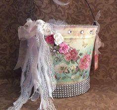 Shabby chic country wedding pail / bucket