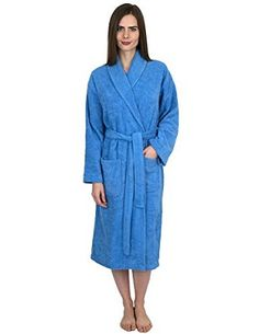 a283a62fce TowelSelections Turkish Waffle Bathrobe Kimono Spa Robe for Women and Men  Medium Large Silver Lake Blue   Check out this great product.