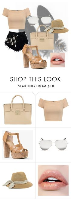 """""""Playa  #summer"""" by ceidy-velasquez ❤ liked on Polyvore featuring Furla, Alice + Olivia, MICHAEL Michael Kors, Victoria Beckham, Eugenia Kim and GUESS by Marciano"""