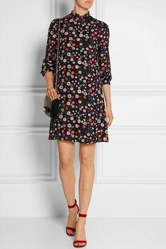 Valentino|Mini-robe en georgette de soie à imprimé fleuri|NET-A-PORTER.COM