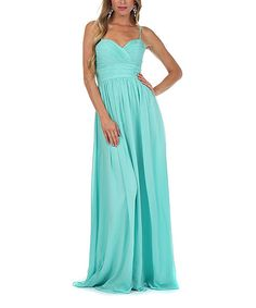 Turquoise Pleated Empire-Waist Gown - Empire waste means it would work for maternity images!