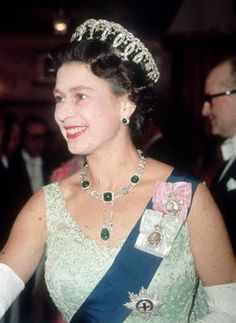 Queen Elizabeth II wearing the Grand Duchess Vladimir Tiara with Emeralds