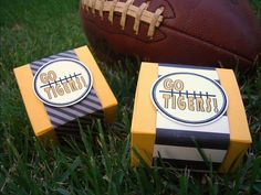 DIY Football Party Favor Kit 10 Personalized Favor Boxes in Yellow and Black Stripes