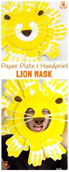 Handprint & Paper Plate Lion Masks. (from Kids Craft Room)