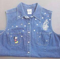 Disney Minnie Mickey Mouse Ladies Jean Shirt Sleeveless Vest Size XL #Disney #VestShirt #Casual