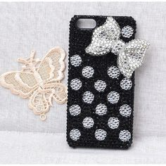 white dots black cell phone case for iphone 5 or 4 4s or ipod touch 4... ($25) ❤ liked on Polyvore