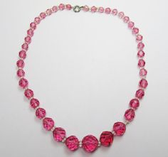 Vintage 1930s Single Strand of Multi Faceted Pink by GildedTrifles
