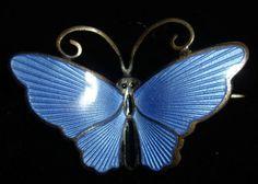 Vintage Signed David Andersen Norway .925 Sterling Enamel Blue Butterfly Brooch
